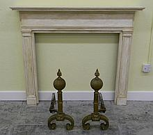 PAIR OF 19TH C BRASS ANDIRONS WITH FLAME FINIALS