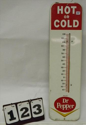 """Red/White """"Hot or Cold Drink Dr. Pepper"""" Thermometer"""