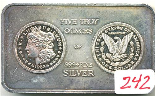 5 TROY OUCES OF .999+ FINE SILVER BAR DEPICTING THE OBVERSE AND REVERSE OF THE FAMED MORGAN SILVER DOLLAR BY SOUTH EAST REFINING 1983