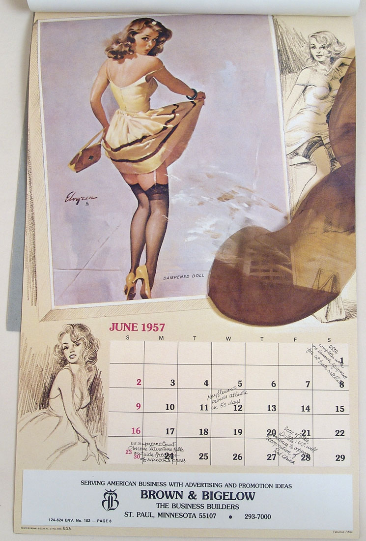 Art Handler Calendar : Elvgren pin up calendar