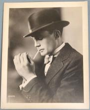 Antique c1910s Real Theatre Photo - Man in Bowler Hat Lighting Cigarette