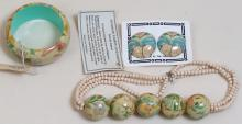 Vintage Hand-Painted Floral Jewelry