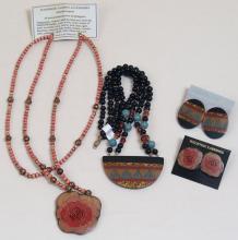 Bone, Horn Necklaces/Earrings - Cloisonne Style