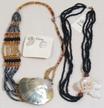 Vintage Mother-of-Pearl Necklaces + Earrings - Cara