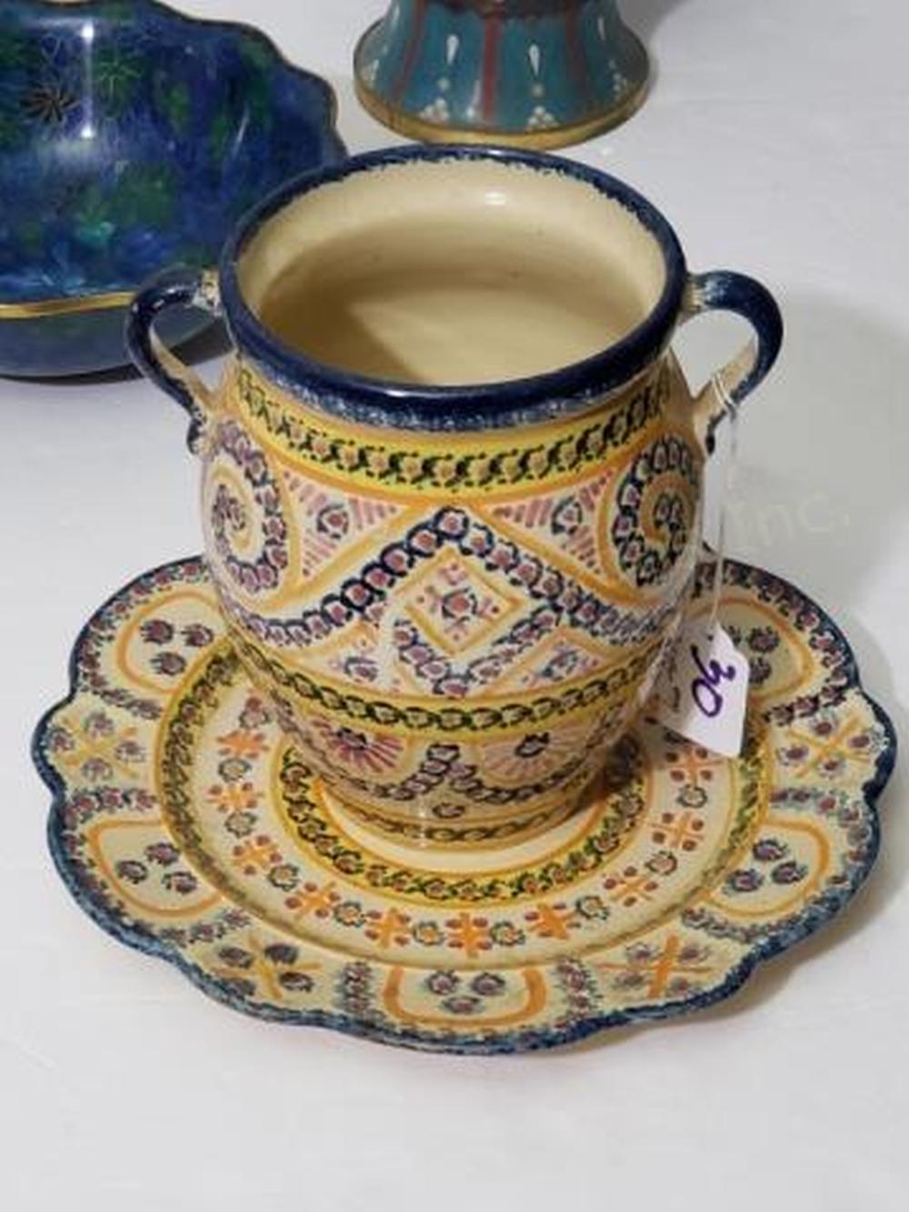 Henriot Quimper France Vase & Plate