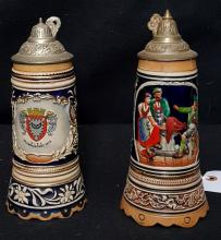 (2) Musical Beer Steins each with Tops