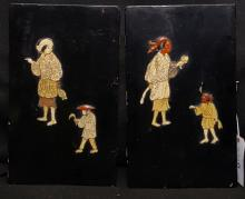 (2) Antique Chinese Lacquer Door Panels