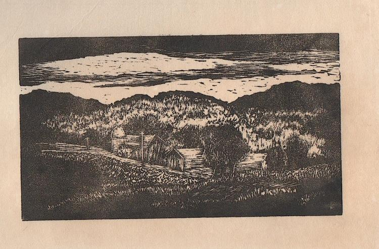 Roy C. Fox woodcut