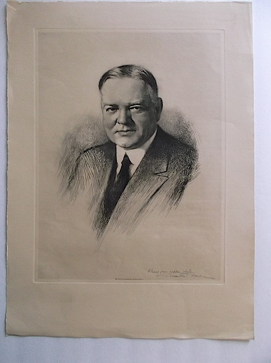 Portrait Etching of President Herbert Hoover