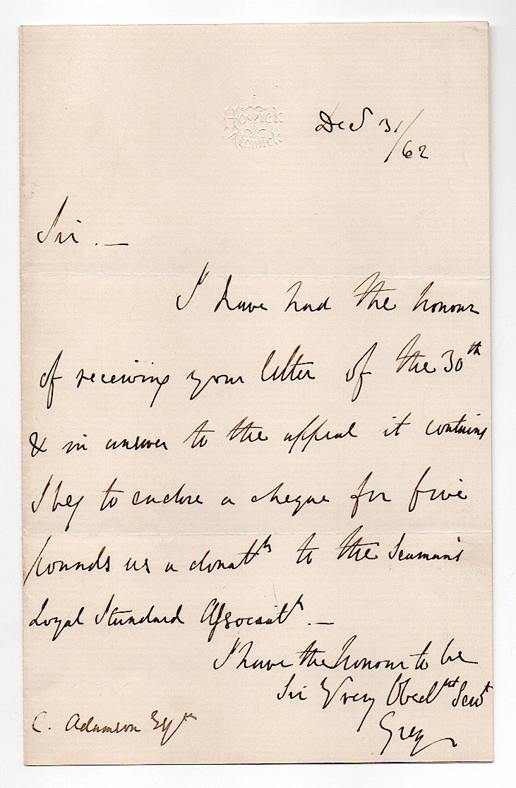 Sir George Grey (1799-1882) Autograph Letter