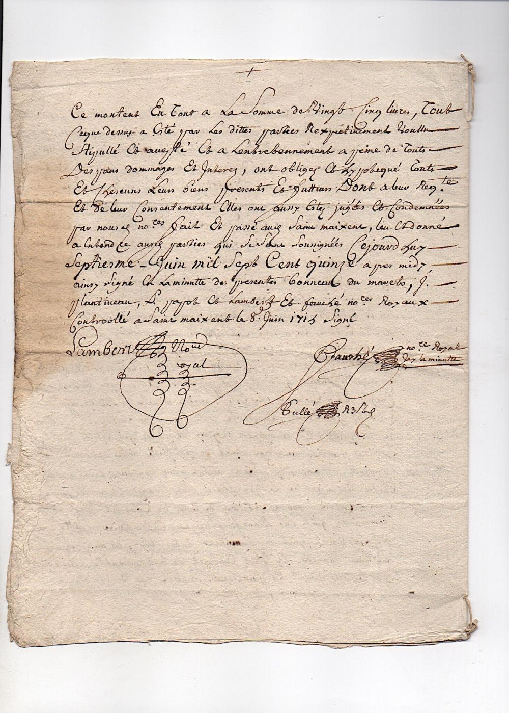 1715 French Document - Ornate Signatures