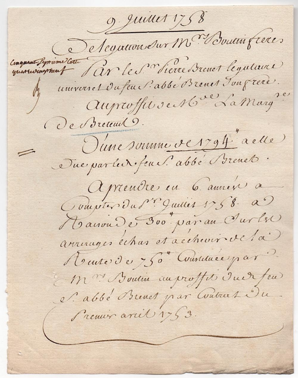 1758 French document on paper concerning the Marquise de Breteuil