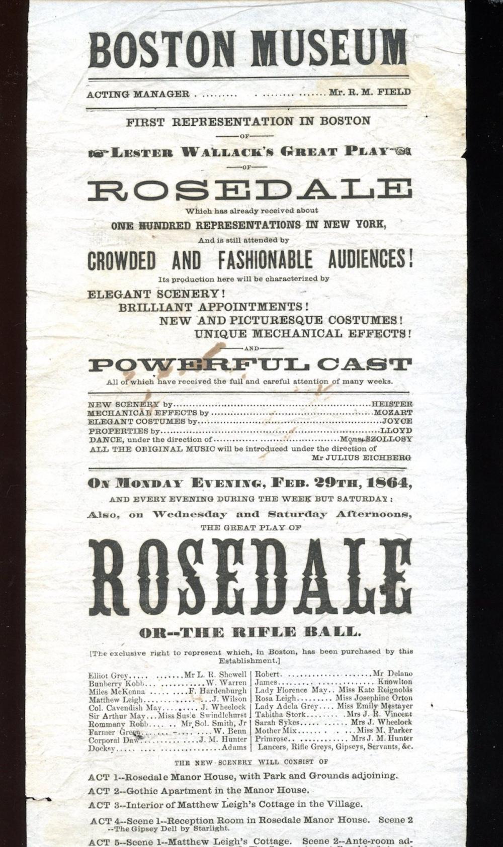 1864 Theatre Playbill for the BOSTON MUSEUM