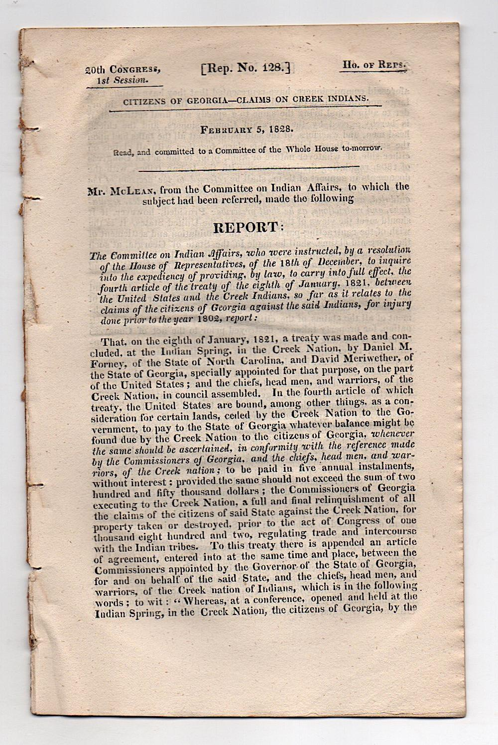 Important Georgia 1828 Document Claims on Creek Indians
