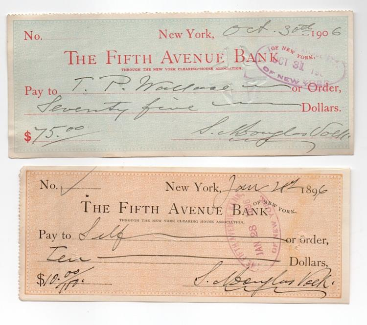 Artist Douglas Volk - 2 bank checks
