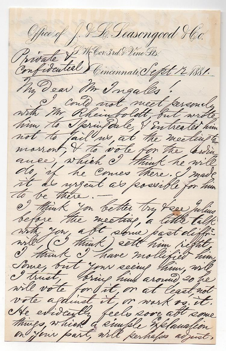 Letter To M. E. Ingalls Railroad Giant