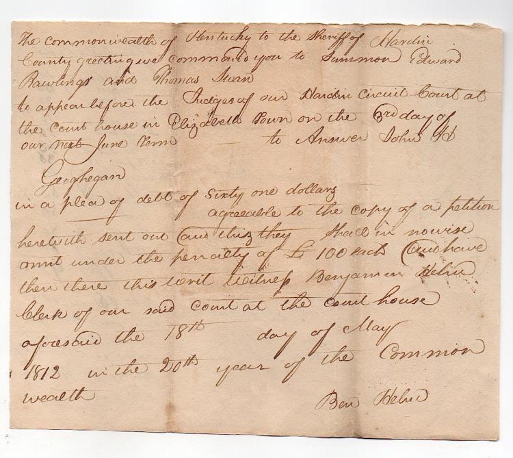 Rare Kentucky Pioneer Document 1812