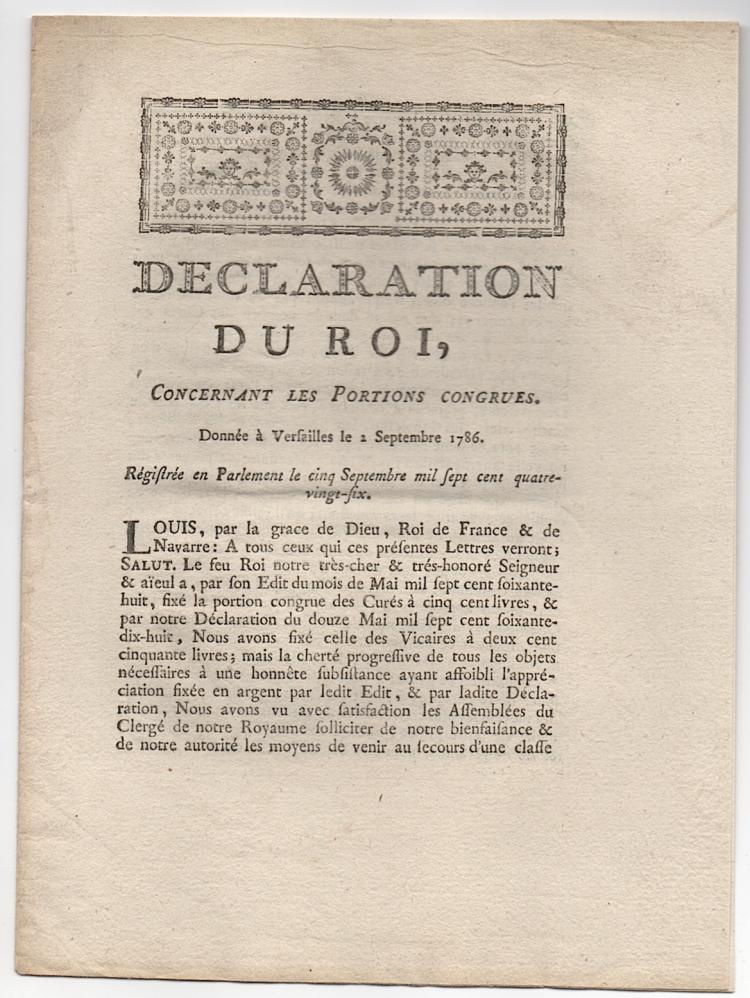 1786 DECLARATION DU ROI, by Louis XVI