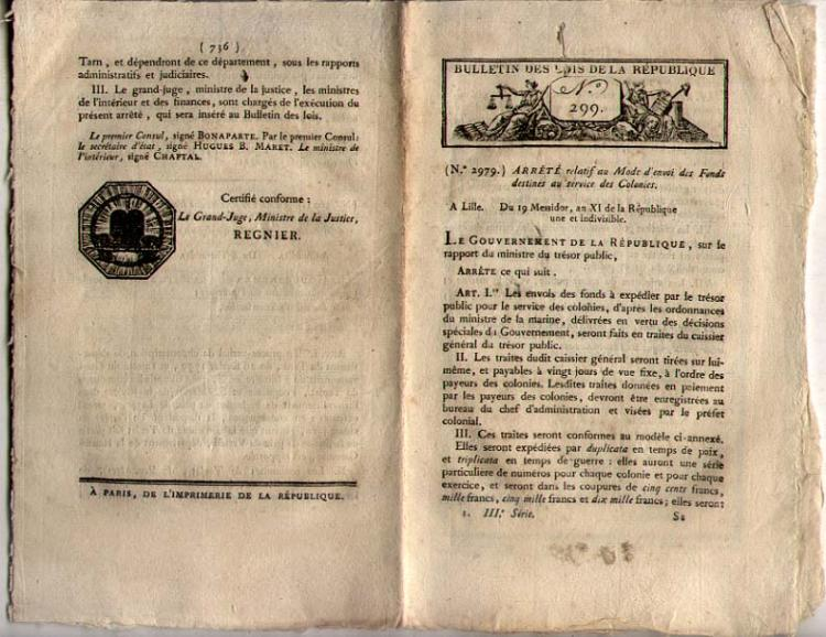 DES LOIS DE LA REPUBLIQUE 1803