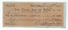 Bank Check Signed by 2 Artists 1923