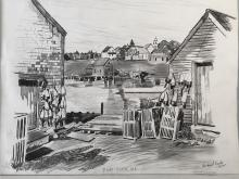 Richard Carle 1962 Drawing of Port Clyde, Maine