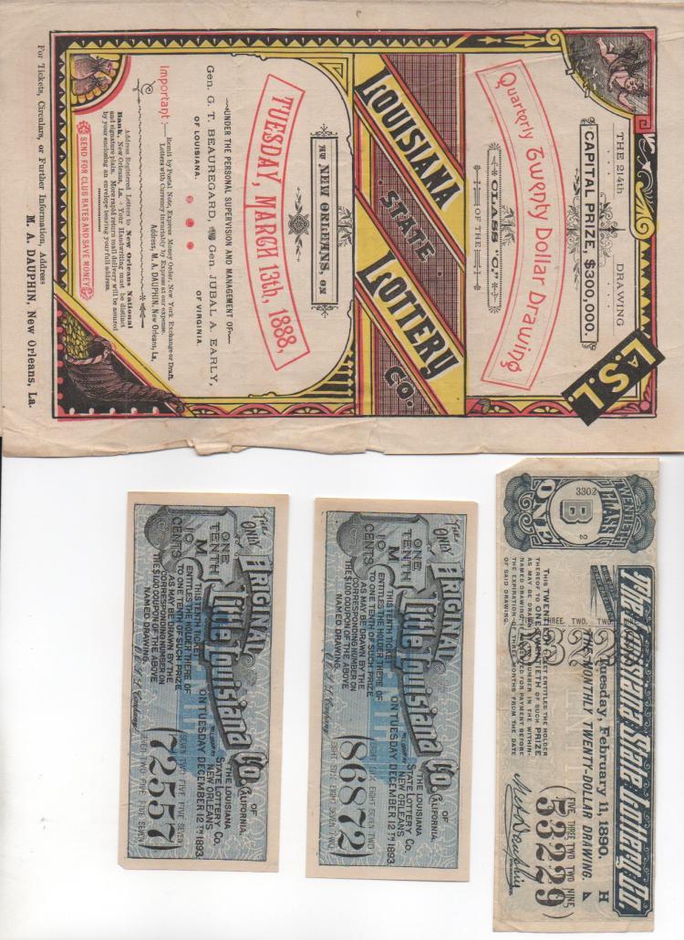 Louisiana Lottery - 4 items, 1888-1893. VG.