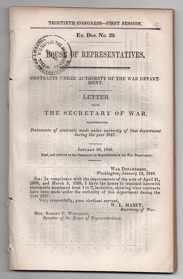 Secretary of War - printed 1848 government document