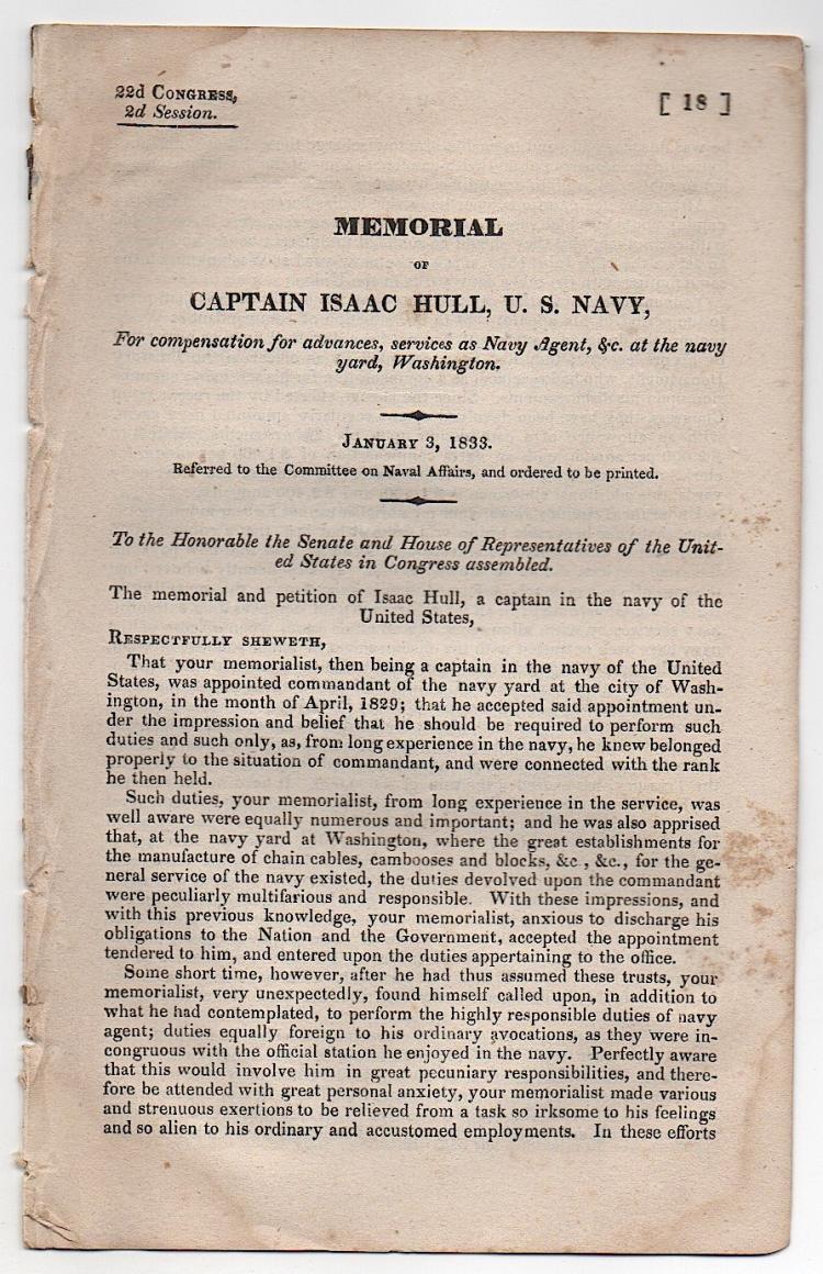 CAPTAIN ISAAC HULL, U.S. NAVY 1833