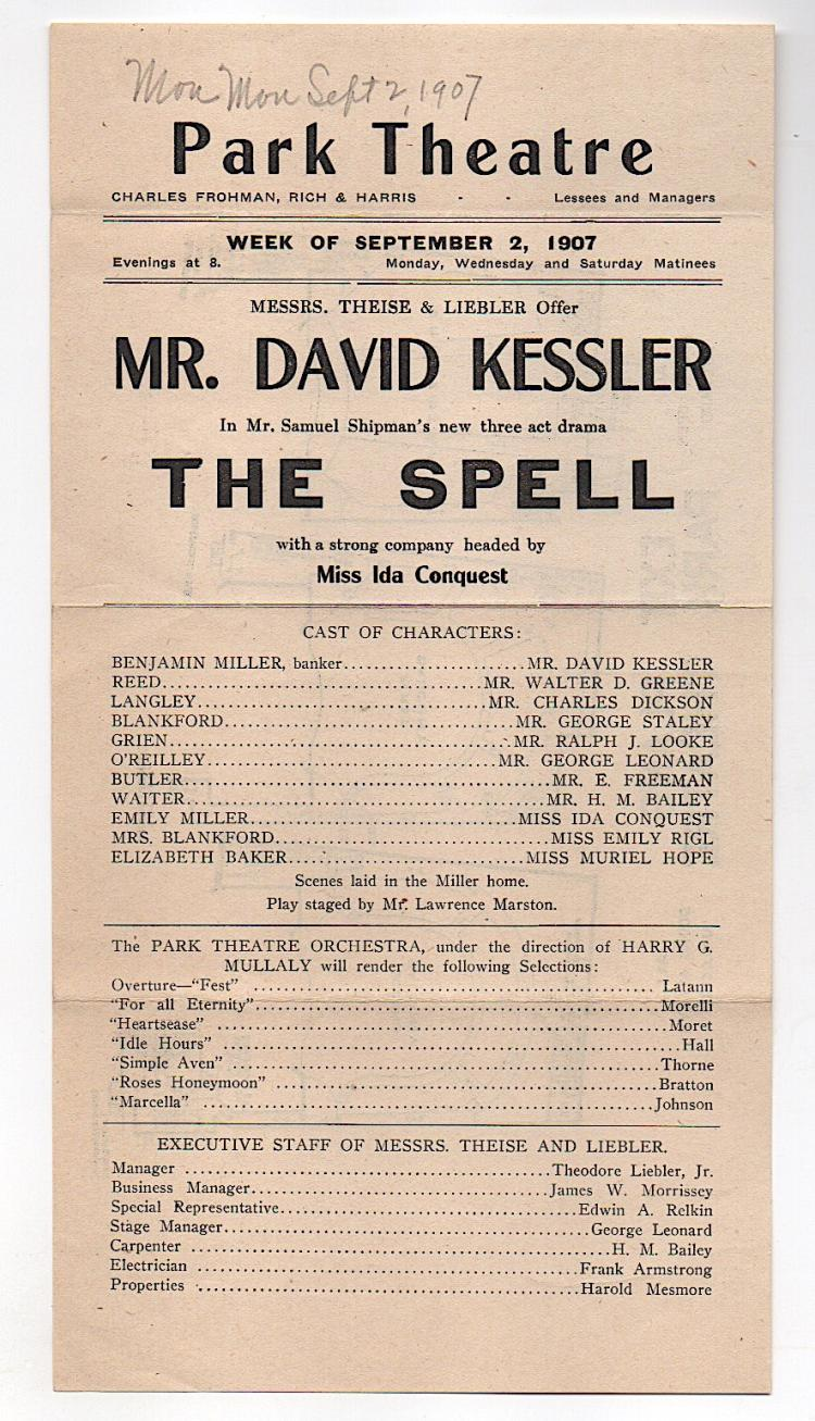 DAVID KESSLER 1907 Theatre Broadside