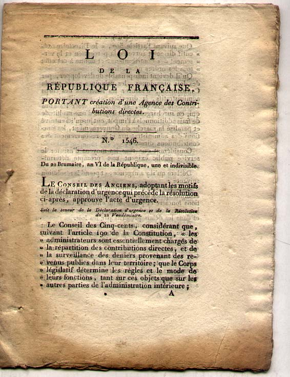 France - Year VI (1798 ) printed document Coneil des 500