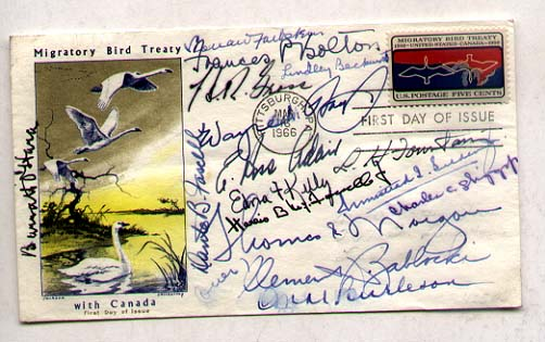 [POLITICS] 1966 FDC signed by 16 members of the House of Foreign Affairs Committee 1960's: O'Hara (ILL), Farbstien (NY), Bolton (OH), Gross (IA), Beckworth (TX), Hays (OH), Fascell (FL), Adair (IN), Kelly (NY), Selden (AL), Fountain (NC), McDowell (DE), Diggs (Ml), Morgan (PA), Zablocki (WI), Burleson (TX) (which is smudged). SIGNED FDC honoring Migratory Birds.