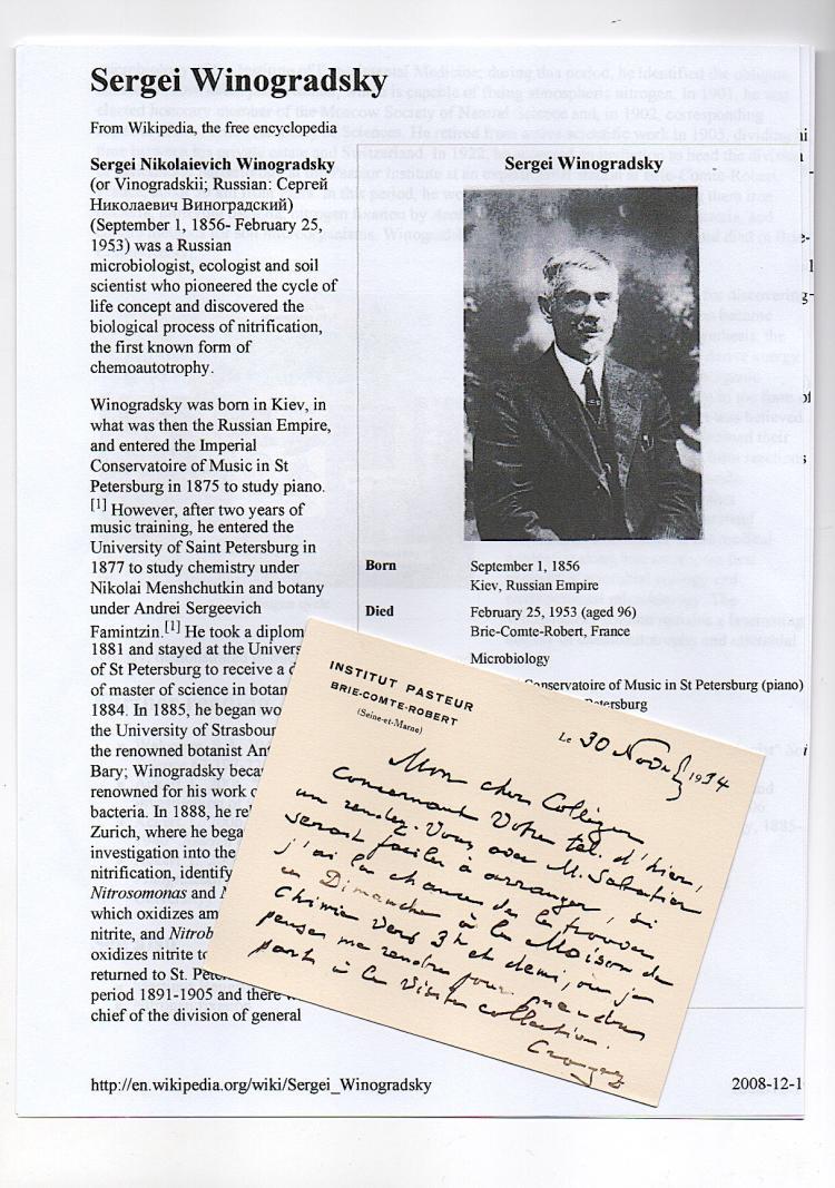 Sergei Winogradsky (1856-1953) Ukrainian-Russian Scientist