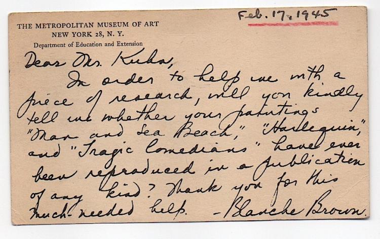 Curator at the Metropolitan Museum of Art to Walt Kuhn