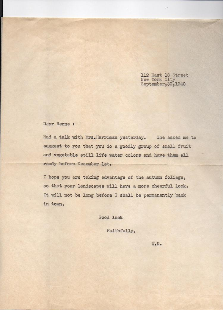 Copy of Kuhn letter 1940 to Artist O.A. Renne