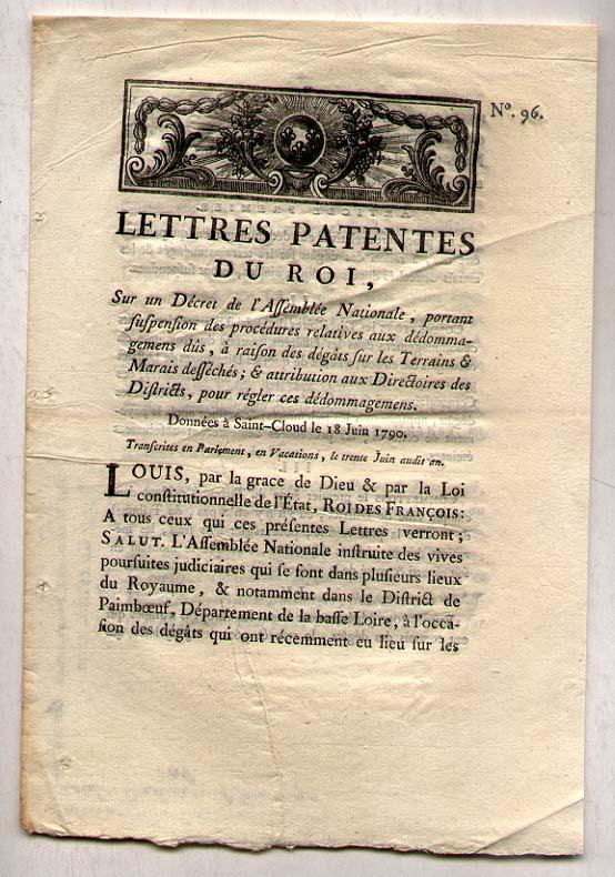 LETTRES PATENTES DU ROI [of the king] 1790