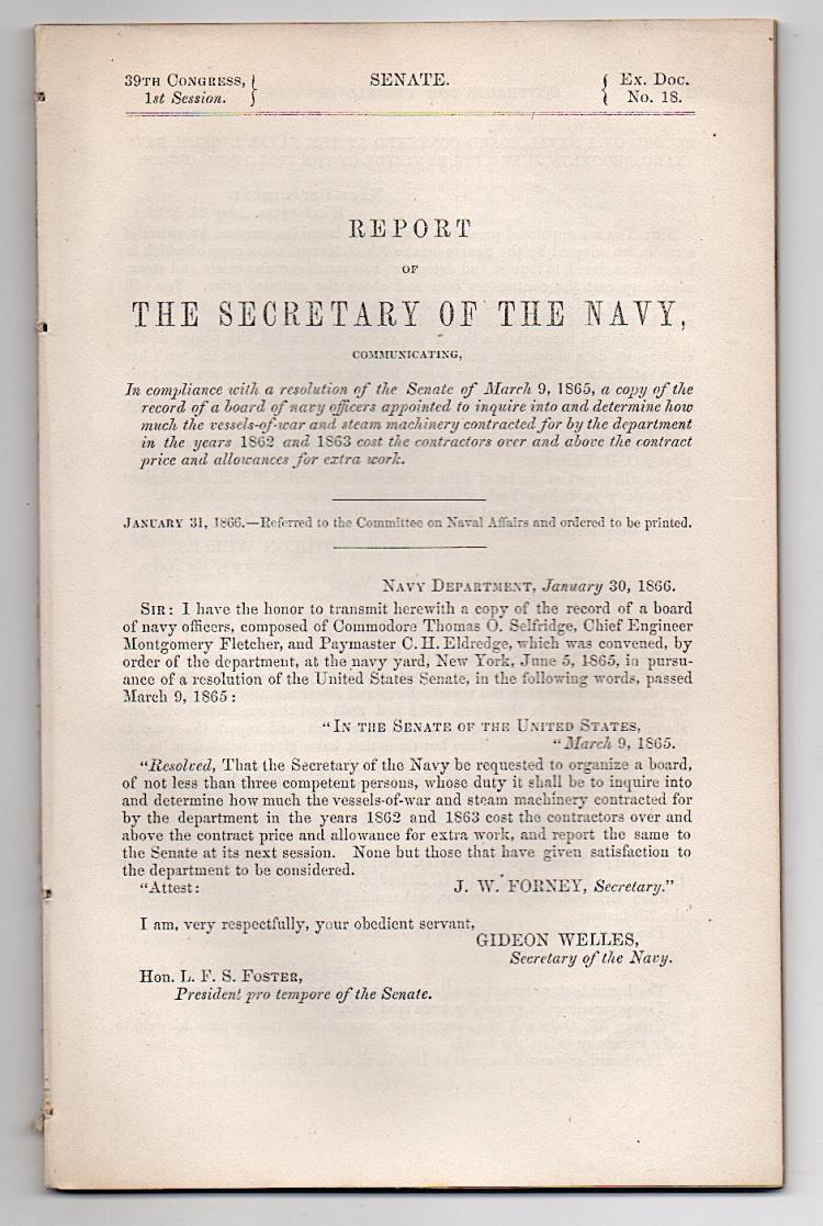 Secretary of the Navy [Gideon Welles] 1866
