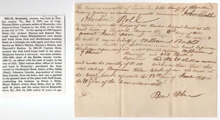 Kentucky Pioneer Document, 1811