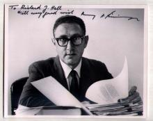 Signed Kissinger Photo by ALFRED EISENSTAEDT