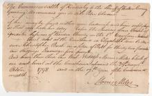 Rare Kentucky Pioneer document 1798