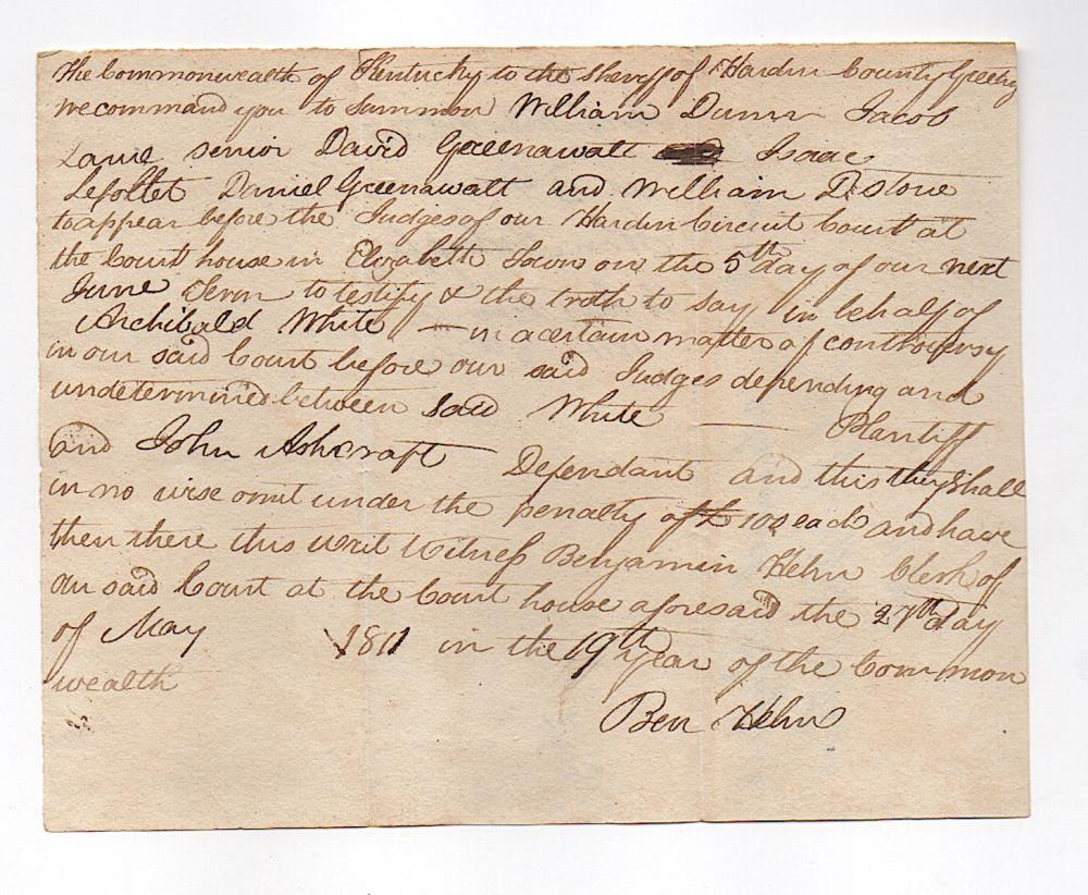 1811 Kentucky Pioneer Document Signed by Helm & Percifull