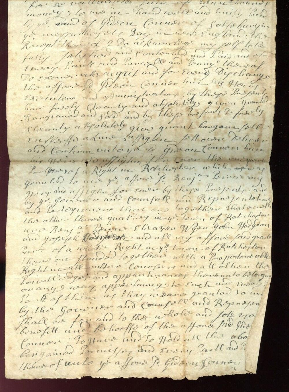 1727 DOVER, NH Land Deed BENJAMIN PIERCE Land in Rochester to GIDEON CONNOR