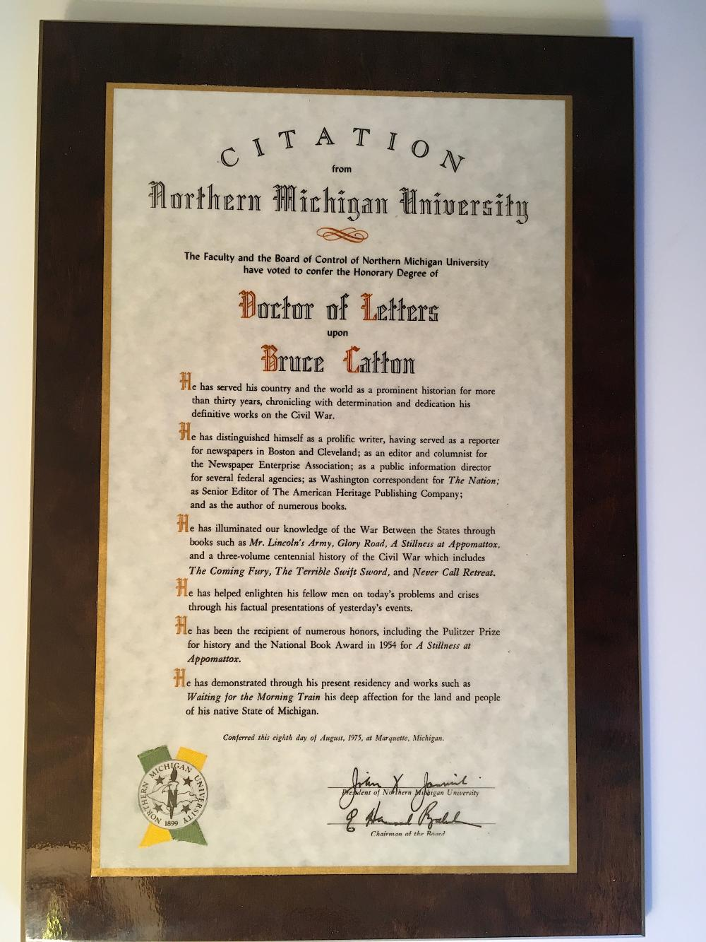Bruce Catton Northern Michigan University 1975 Honorary Doctor of Letters Degree