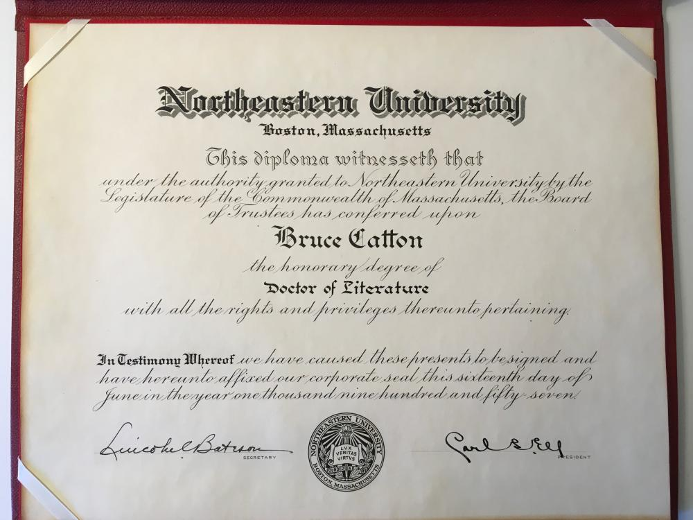 Bruce Catton Northeastern University 1957 Honorary Doctor of Literature Degree