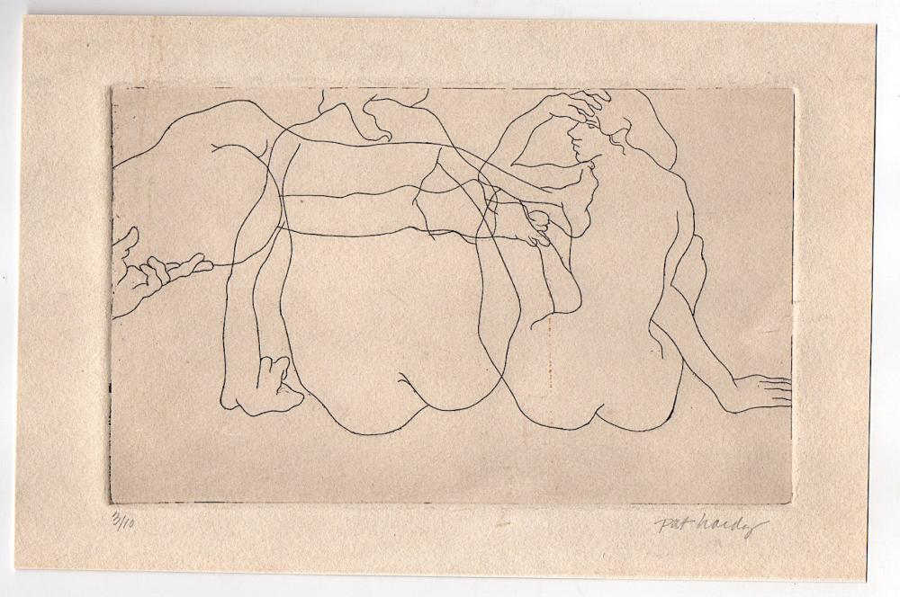 Pat Hardy Etching  of Nudes, very small edition