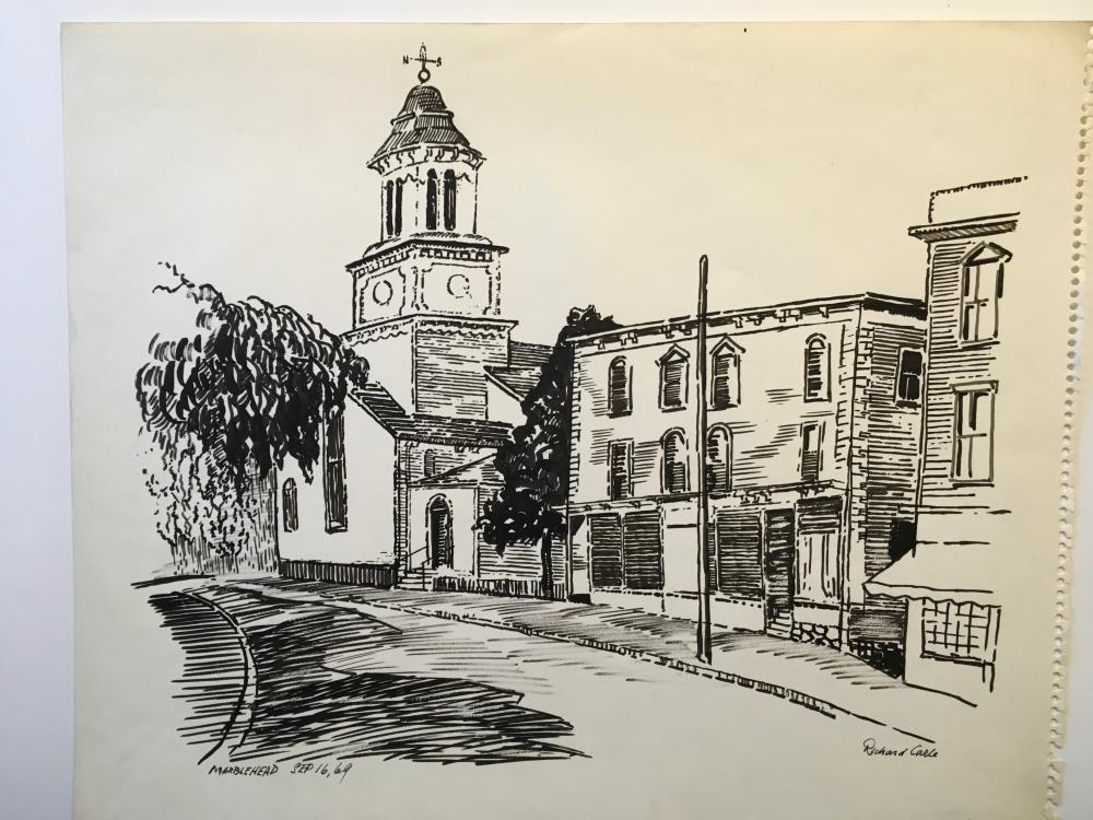 MARBLEHEAD, MASS. - 1969 Drawing by Richard Carle