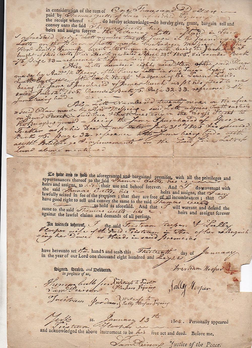 1808 SACO, MAINE - Signed by John Frost and Tristram Jordan