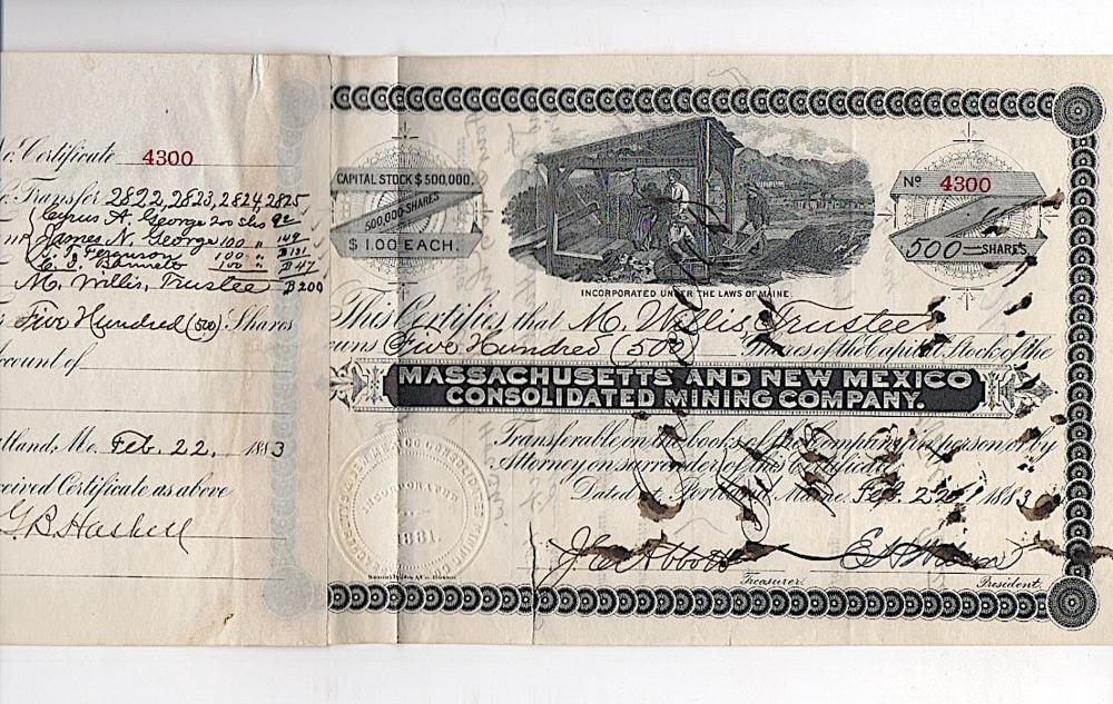 New Mexico Territorial Mining stock 1883