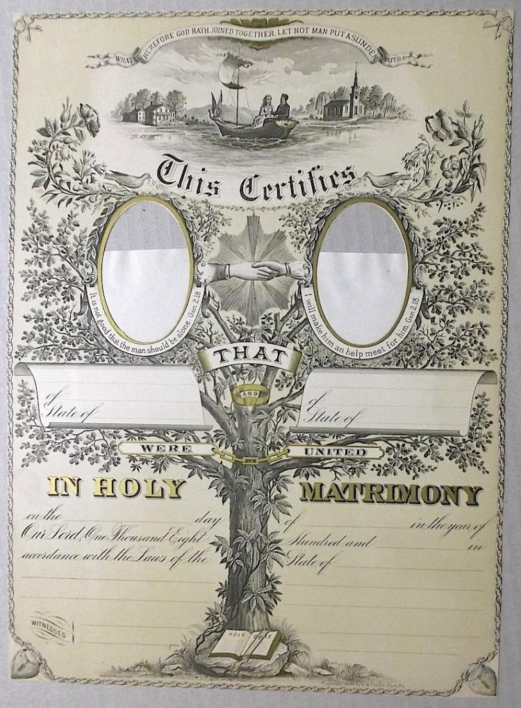 1880 Ornate Victorian Marriage Certificate