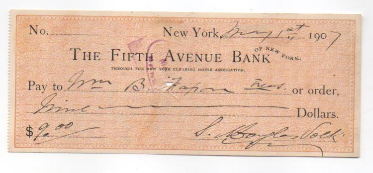 Douglas Volk to William B. Faxon bank check
