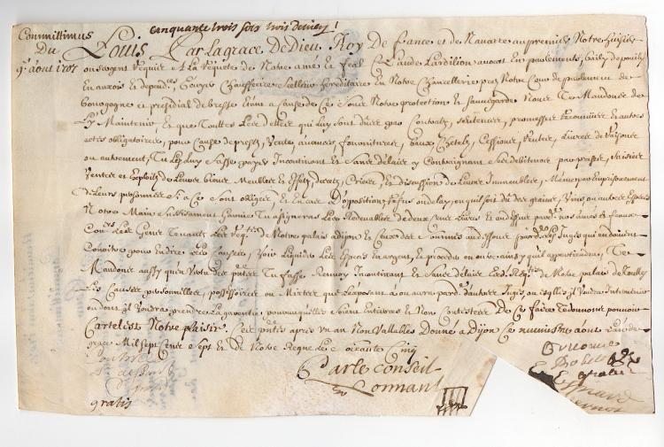 Attractive French document dated 1707
